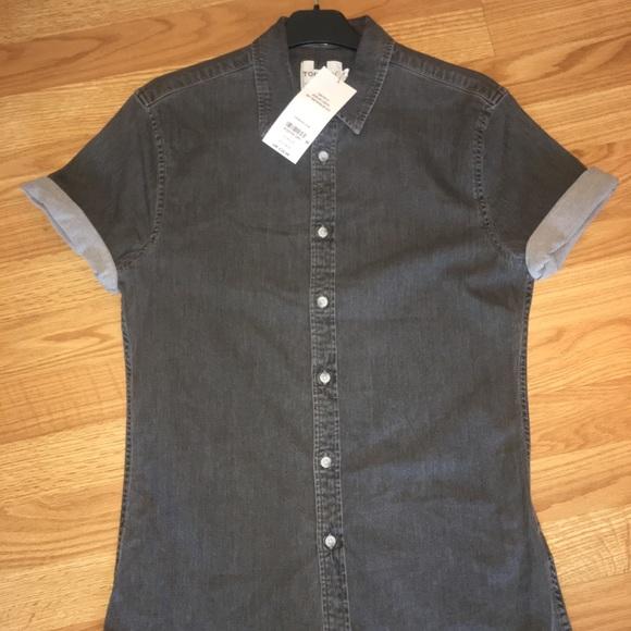 3d5eae8f766 Topman Gray Muscle Fit Short Sleeve Denim Shirt